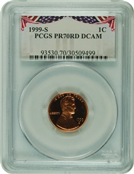 1999-S PCGS PR70RD DCAM Lincoln Cent Bunting Label