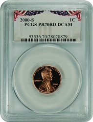 2000-S PCGS PR70RD DCAM Lincoln Cent Bunting Label