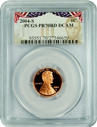2004-S PCGS PR70RD DCAM Lincoln Cent Presidential Label