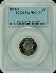 1968-S PCGS PR67DCAM Jefferson Nickel