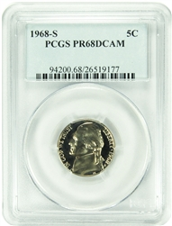 1968-S PCGS PR68DCAM Jefferson Nickel