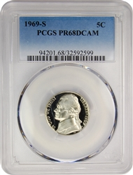 1969-S PCGS PR68DCAM Jefferson Nickel Proof (Faded Label)