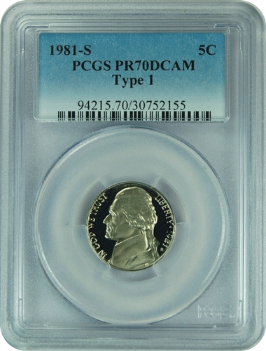 1981-S PCGS PR70DCAM Type 1 Jefferson Nickel Faded Label