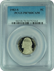 1983-S PCGS PR70DCAM Jefferson Nickel Faded Label