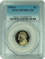 1995-S PCGS PR70DCAM Jefferson Nickel Faded Label