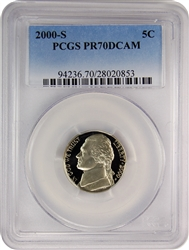 2000-S PCGS PR70DCAM Jefferson Nickel Faded Label