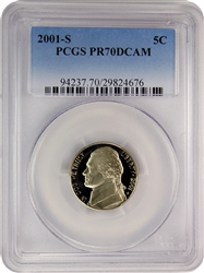 2001-S PCGS PR70DCAM Jefferson Nickel Faded Label