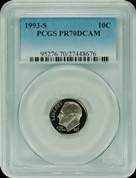 1993-S PCGS PR70DCAM Roosevelt Dime Faded Label