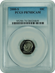 2000-S PCGS PR70DCAM Roosevelt Dime Faded Label