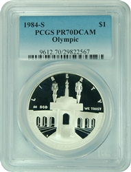 1984-S PCGS PR70DCAM Olympic $1 Silver Commemorative Faded Label