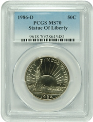 1986-D PCGS MS70 Statue Of Liberty .50 Commemorative New PCGS Label