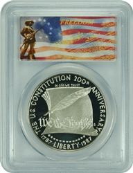 1987-S PCGS PR70DCAM Constitution Silver Dollar Freedom Label