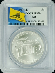 1991-D PCGS MS70 USO Commemorative Silver Dollar Don't Tread On Me Label