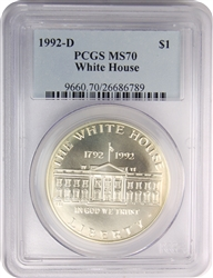 1992-D PCGS MS70 White Commemorative Silver Dollar Classic Label