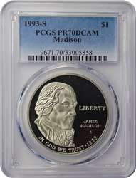 1993-S PCGS PR70DCAM Madison Silver Dollar Faded Label