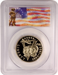 1991-95 P PCGS PR70DCAM World War II Commemorative Half Dollar Freedom Label
