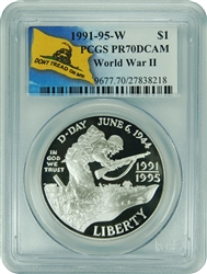 1991-95 W PCGS PR70DCAM World War II Commemorative Silver Dollar (Don't Tread On Me Label)