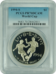 1994-S PCGS PR70DCAM World Cup Commemorative Silver Dollar Faded Label