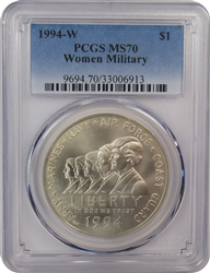 1994-W PCGS MS70 Women Military Commemorative Silver Dollar Faded Label