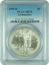 1995-D PCGS MS70 Gymnastics Commemorative Silver Dollar Faded Label
