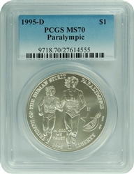 1995-D PCGS MS70 Paralympics Commemorative Silver Dollar Faded Label