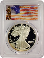 1986-S PCGS PR70DCAM Silver Eagle Dollar Freedom Label
