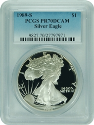 1989-S PCGS PR70DCAM Silver Eagle (New PCGS Label)