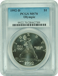 1992-D PCGS MS70 Olympic Commemorative Dollar Faded Label