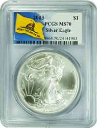 2003 PCGS MS70 Silver Eagle Dollar Don't Tread On Me Label