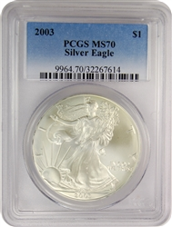 2003 PCGS MS70 Silver Eagle Faded Label