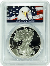 2001-W PCGS PR70DCAM Silver Eagle Dollar Bald Eagle Label