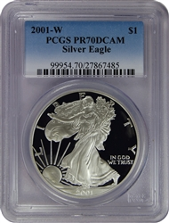2001-W PCGS PR70DCAM Silver Eagle Dollar Faded Label