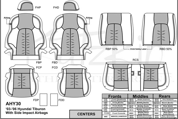 Hyundai Tiburon Katzkin Leather Seats, 2003, 2004, 2005