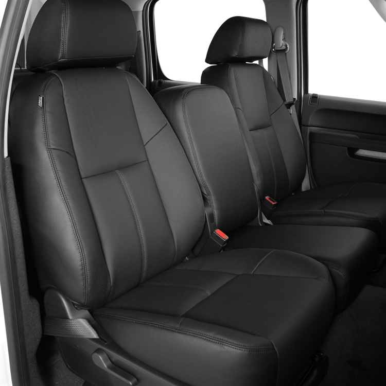 Black Leather  Like 2 Front Car Seat Covers Cadillac #209A