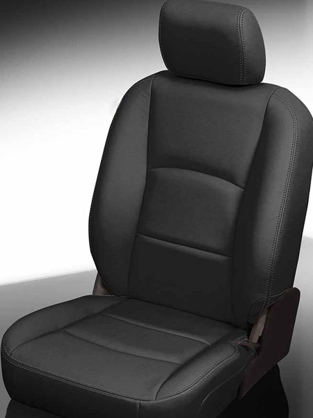 Car Seat Cover Leatherette Front Buckets Black White w// Black Steering Cover