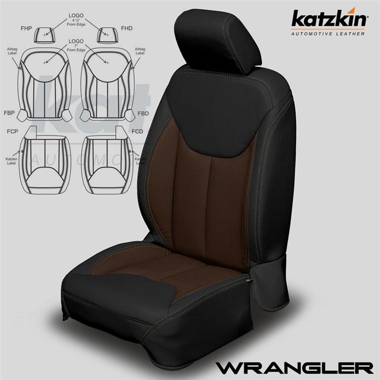 Jeep Wrangler Seats >> 2013 2018 Jeep Wrangler 2 Door Katzkin Leather Interior Jk Body Without Front Seat Srs Airbags 2 Row