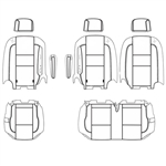 Ford Transit Wagon XLT Katzkin Leather Seats (3rd row, split bench for 3 passengers with 2 arms), 2015, 2016, 2017, 2018, 2019, 2020