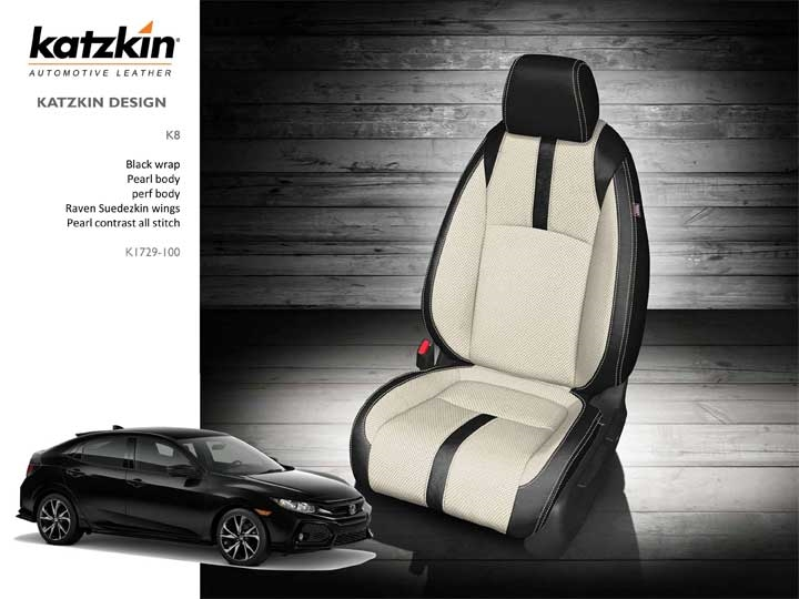 honda civic ex hatchback katzkin leather seats 2017 2018 2019 2020 autoseatskins com 2017 2020 honda civic ex hatchback katzkin leather upholstery kit 2 row set