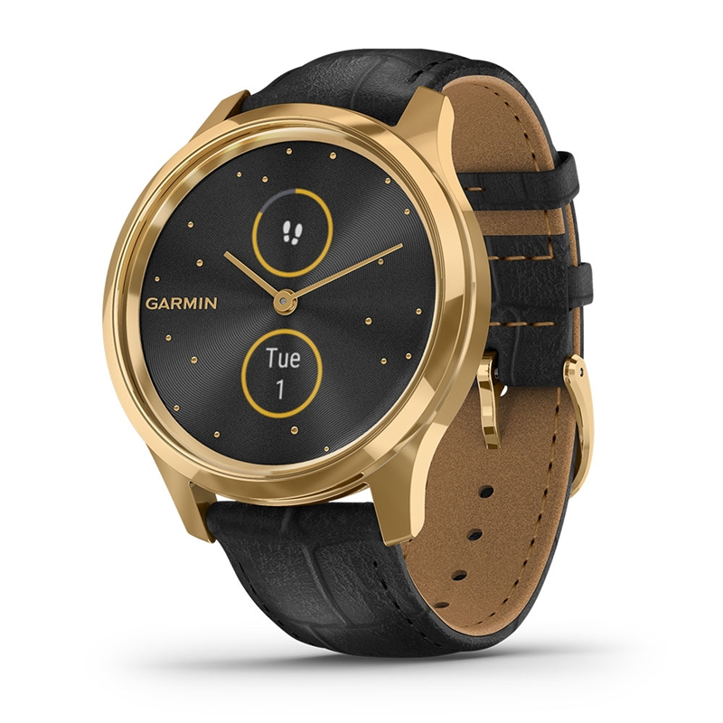 Garmin vivomove Luxe 24K Gold PVD Stainless Steel Case w/Black Italian Leather Band