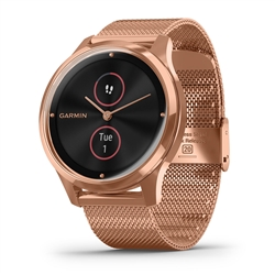 Garmin vivomove Luxe 18K Rose Gold PVD Stainless Steel Case w/Rose Gold Milanese Band