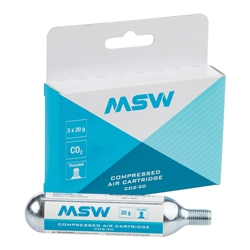 MSW CO2-20 CO2 Cartridge 20g 3-Pack