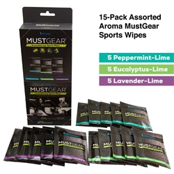 MUSTGEAR Aromatherapy Sports Wipes 15-Pack Assortment