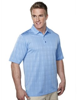 Tri-Mountain 023 Mens Montecito Tonal Plaid Jacquard Polo Shirts