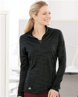 Adidas A476 Women's Lightweight Mélange Quarter-Zip Pullovers