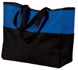 Port & Company Bi-Color Tote with Zippered Pocket B515. Embroidery available. Fast shipping on blanks. Volume Discounts. No minimum purchase.
