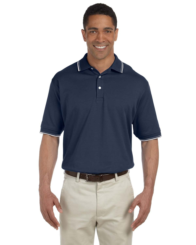 Devon Jones D140 Mens Tipped Perfect Pima Interlock Polo Shirts