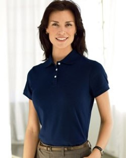 Devon & Jones Ladies Solid Perfect Pima Interlock Polo Shirts D140SW. Embroidery available. Quantity Discounts. Same Day Shipping available on Blanks. No Minimum Purchase Required.