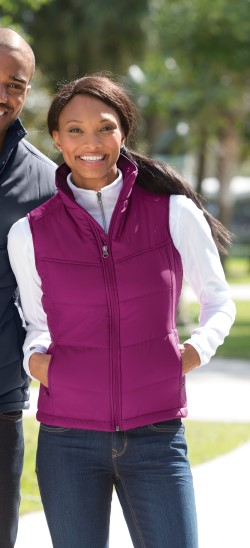 Port Authority L709 Ladies 100% Polyester Puffy Vest. Quantity Discounts. Free Shipping available.