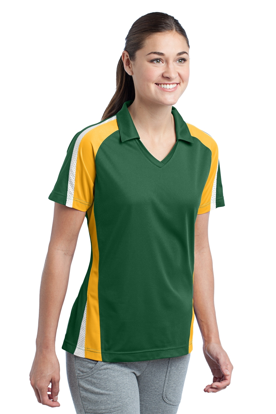 Sport-Tek LST654 Womens Tricolor Micropique Sport-Wick Polo Shirts 51e6be364a