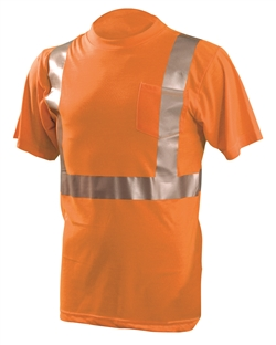 OccuNomix Men's LUX-SSETP Orange and Yellow Reflective Pocket T-Shirts
